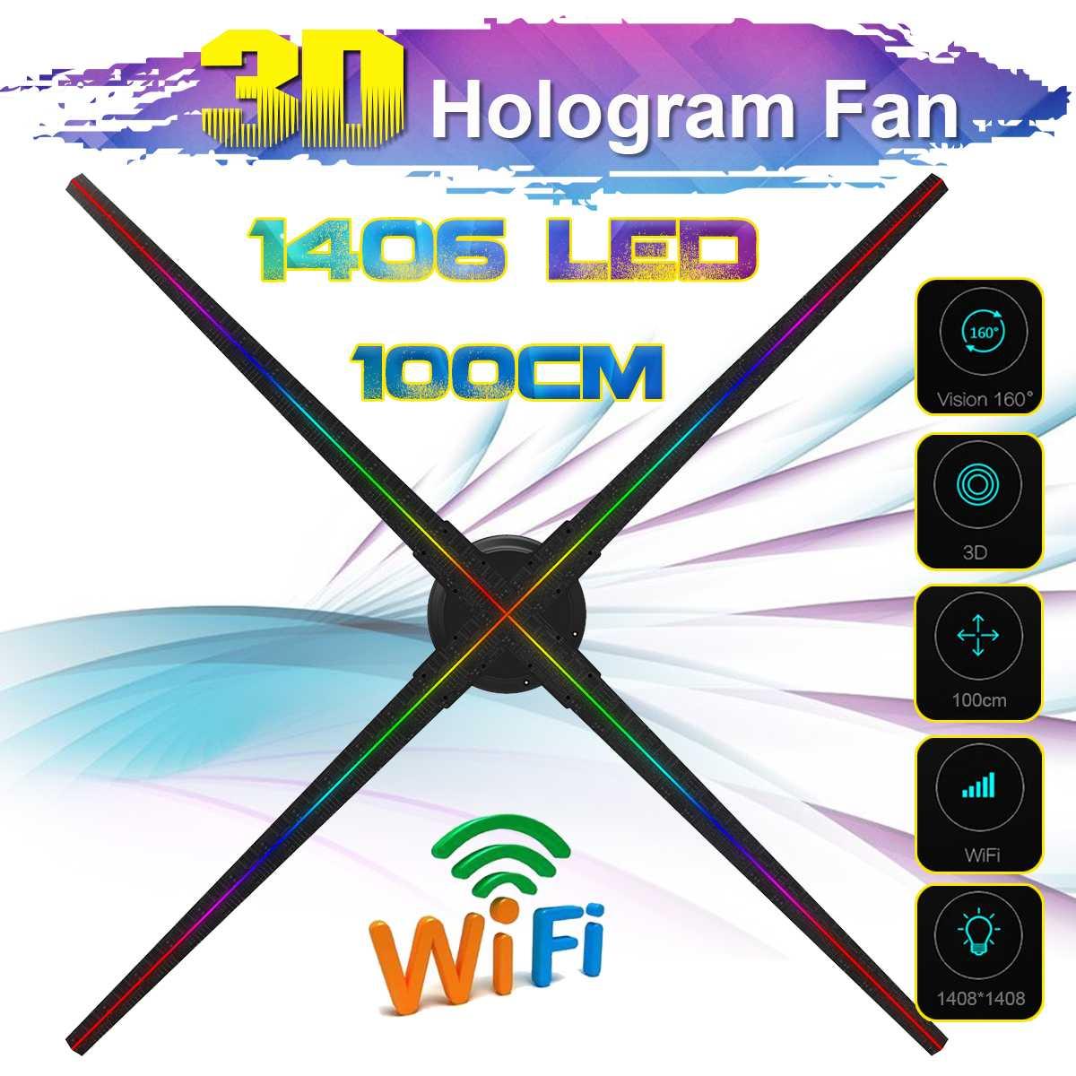 Mis à niveau 100CM Wifi 3D holographique projecteur hologramme lecteur LED affichage ventilateur publicité lumière APP contrôle avec batterie en plein air