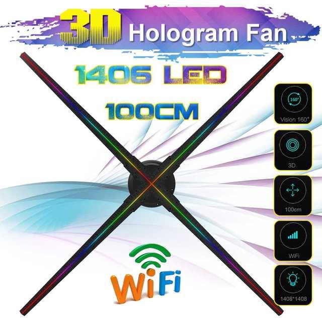 Verbesserte 100CM Wifi 3D Holographische Projektor Hologramm Player Led anzeige Fan Werbung Licht APP Control Mit