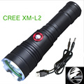 High power LED  tactical flashlight CREE XM-L2  3800 Lumens  5 mode of Rechargeable LED flashlight torch