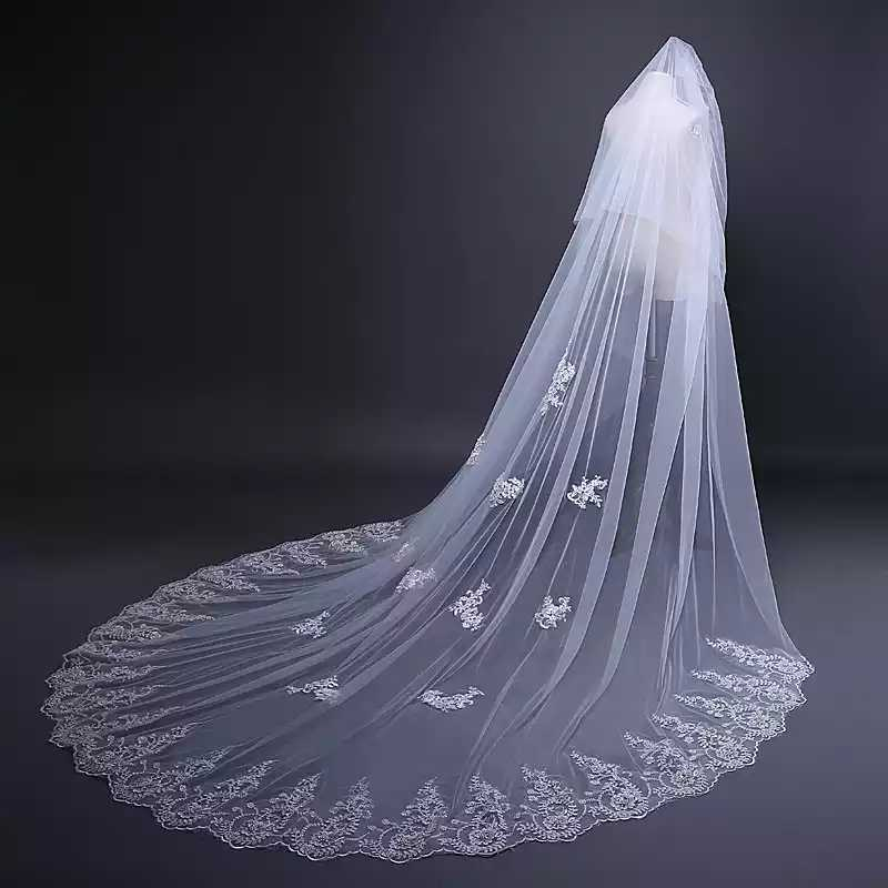LORIE 3m Tulle Wedding Veils Appliques with Lace Luxury Bridal Veil with Comb Free Shipping