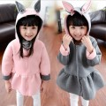 2015 Winter Zipper children's clothing girls thickening primer shirt sweatshirt long-sleeved sweater hoodies cartoon bunny ears