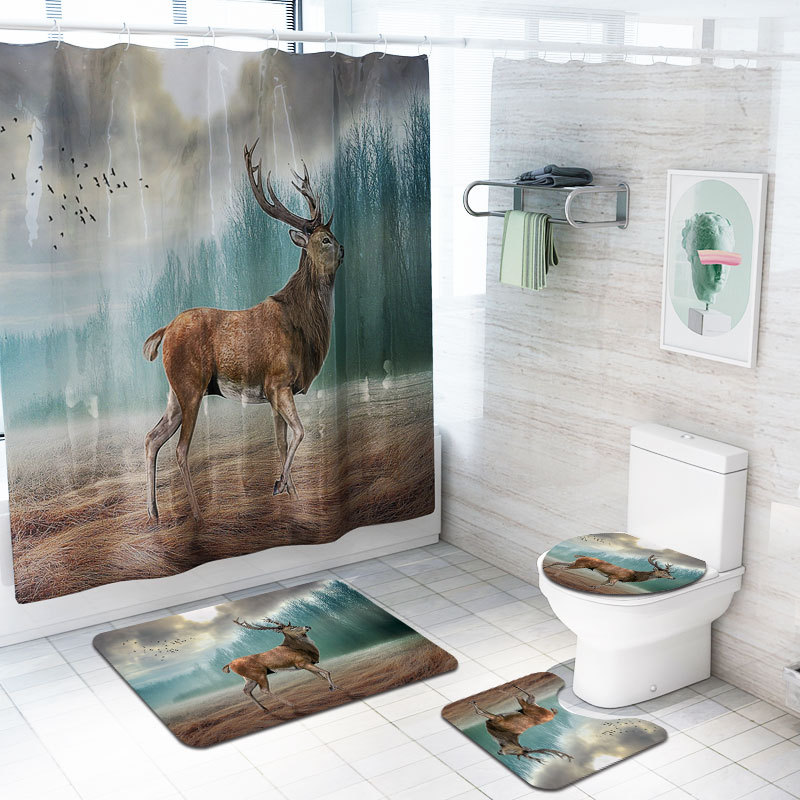 Abstract Deer Pattern 4 Pcs/Set Shower Curtain Bath Rug Set Toilet Cover Bath Mat Set Bathroom Accessories Curtains with Hooks
