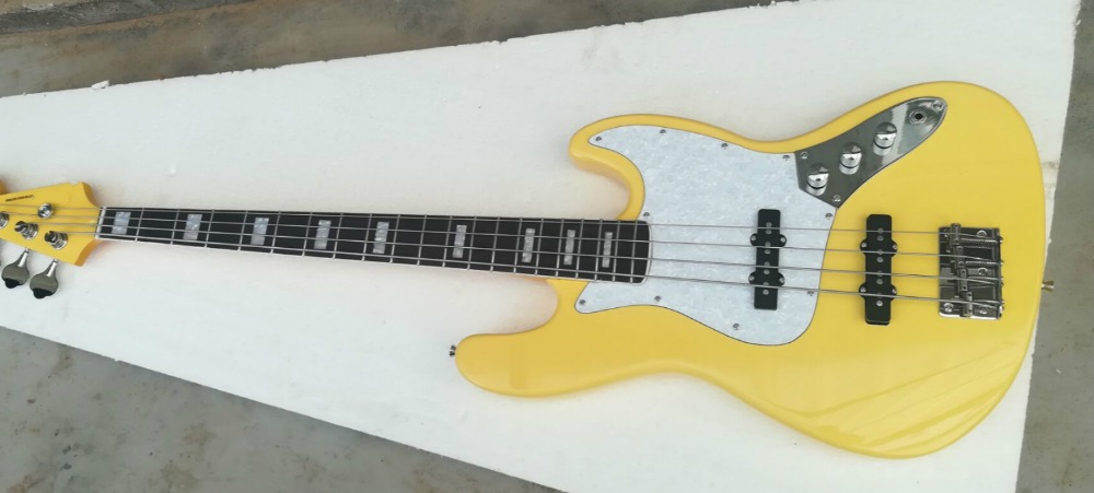 Cheap Price Top Quality Fdjb-5006 Yellow Color Solid Basswood Body Rosewood Fretboard 4 Strings Jazz Bass Electric Guitar Free Shipping To Reduce Body Weight And Prolong Life Guitar Sports & Entertainment