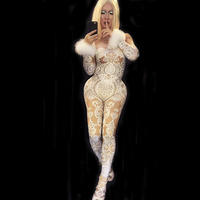 Sexy White Lace Rhinestones Bodysuit Female Singer Stage Jumpsuit Costume Party Celebrate Glisten Stones Stretch Nude