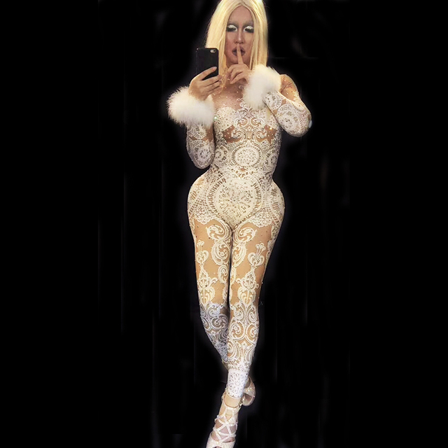 Sexy White Lace Rhinestones Bodysuit Female Singer Stage Jumpsuit Costume Party Celebrate Glisten Stones Stretch Nude Outfit