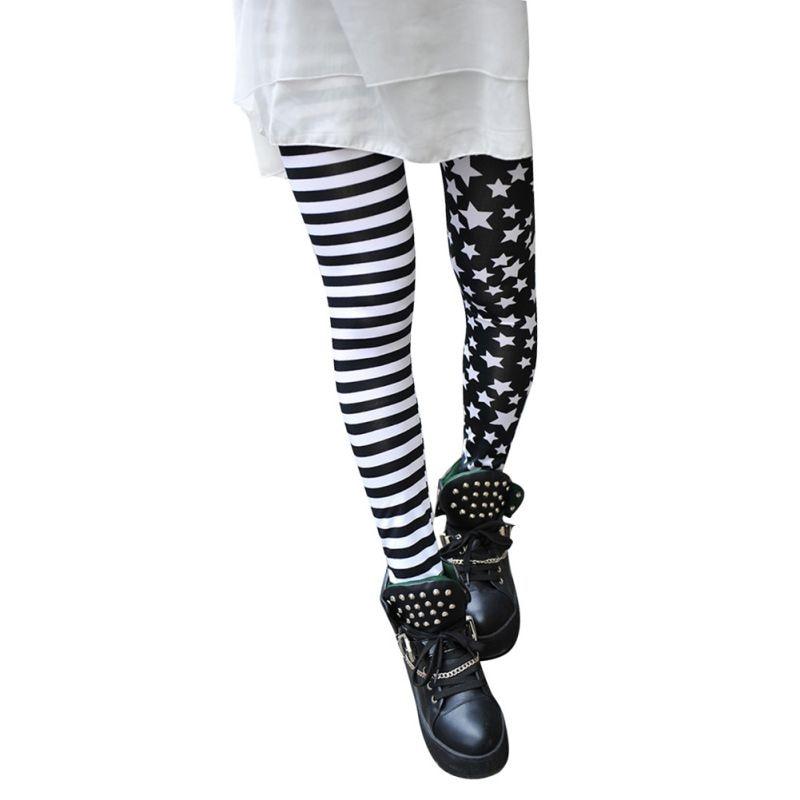 Women Ladies Summer Stitching Striped Stars Leggings Trousers Slim Pants