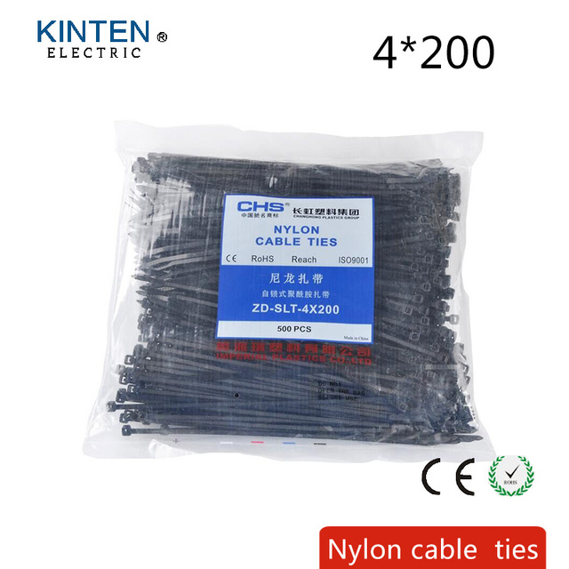 789b42545df0 500Pcs/pack 4*200mm high quality width 2.8mm black color Factory Standard  Self-locking Plastic Nylon Cable Ties,Wire Zip Tie