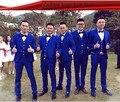 Estilo clássico Um Botão Azul Royal Prom Ternos Do Casamento Do Noivo Smoking homens Padrinhos Custom Made (Jacket + Pants + colete + Gravata) K: 392