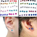 Splendid 20 Pairs Women's 5mm Candy Color Crystal Allergy Free Ear Studs Earrings 51WD