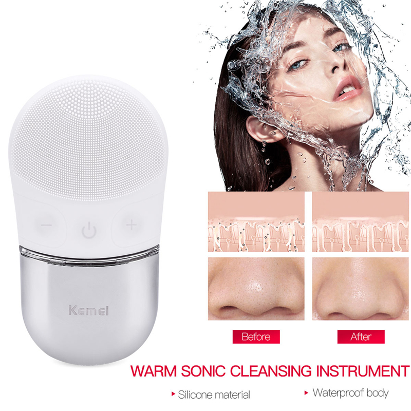 Ultrasonic Electric Facial Cleansing Brush Remove Blackhead Acne Pore Cleanser Skin Scrubber Waterproof Silicone Face Massager face skin care electric vibrate facial cleansing brush wash machine rechargable soft silicone acne cleanser massager waterproof