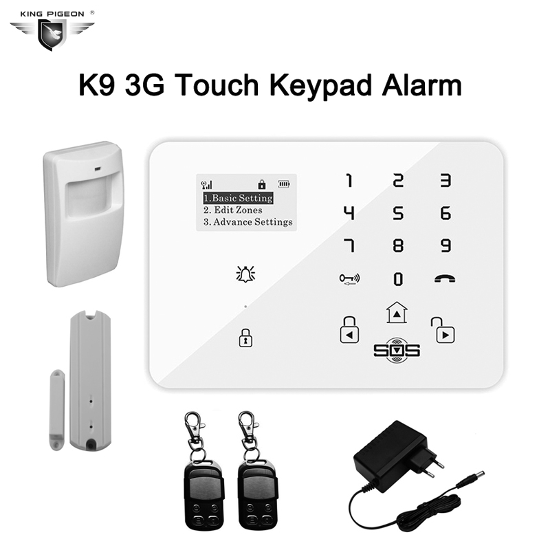 Wireless GSM Alarm System For Home Security System Touch Keypad Burglar With PIR Motion Sensor Door Detector Remote Control K9 wireless gsm sms burglar alarm home security system with pir motion sensor door magnet sensor app control ios android