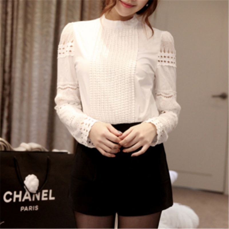 Casual Women Lace Tops And Blouses White Stand Collar Long Sleeve Slim Bottoming Lace Hook Flower Hollow Shirt Plus Size S-5XL