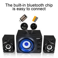 SADA D-206 Bluetooth Wireless Speaker Stereo Bass Mobile Phone Laptop Desktop Speakers With Blue Atmosphere Light USB2.1 Power