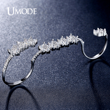 UMODE Brand New Rhodium plated Gorgeous Adjustable Micro Simulated Pave Four Finger Rings For Women Jewelry