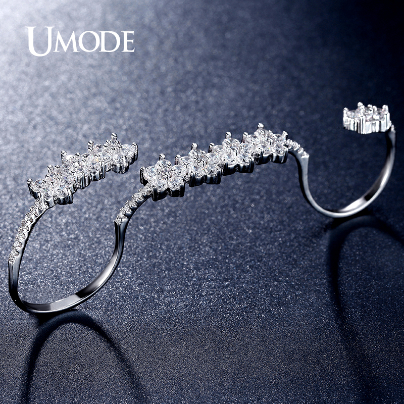 UMODE Brand New Rhodium plated Gorgeous Adjustable Micro Simulated  Pave Four Finger Rings For Women Jewelry AUR0304