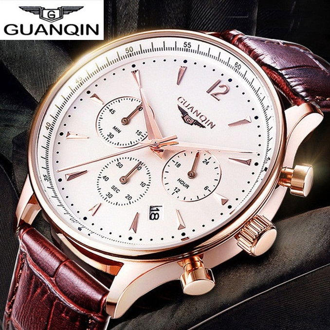 Luxury Men Watch Waterproof Fashion Casual Clock Military Quartz Hot Brand GUANQIN Sports Watches Relogios Wristwatch