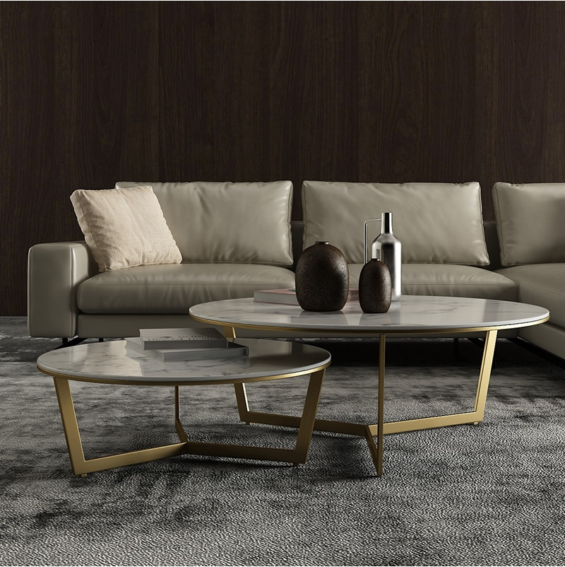 Nest Coffee Table With Stainless Steel Frame / Set Of 90cm+70cm Marble Top