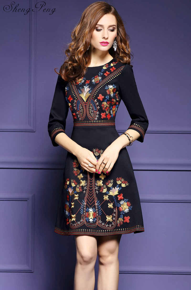 779108556df ... 2018 new mexican embroidered dress woman black mexican dress boho chic  dresses ladies tunic boho style ...