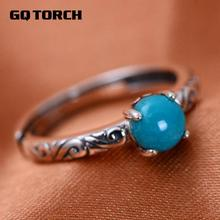 Real 925 Sterling Silver Rings For Women Claws Setting Turquoise Stone Opening Ring