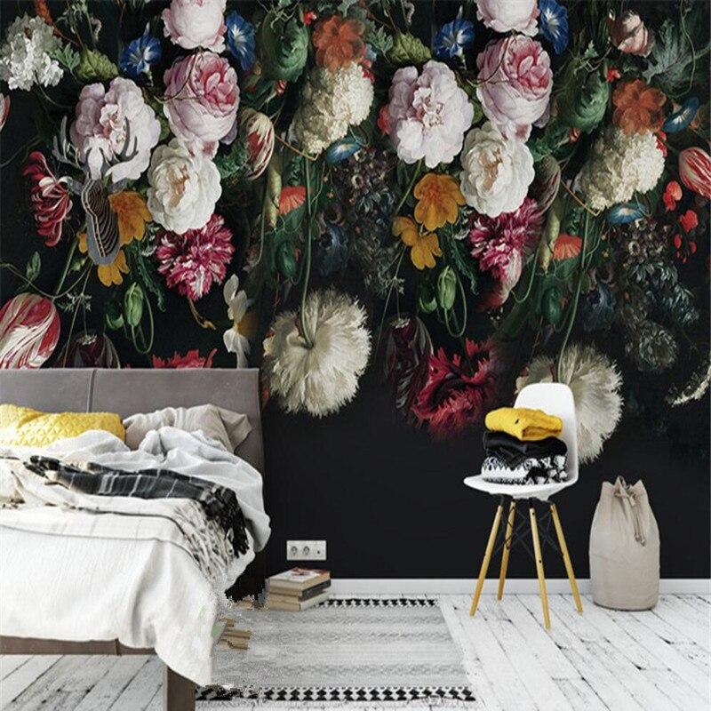 3D personnalisé papier peint Mural Style européen pastorale rétro Roses pivoine Floral peint à la main fond mur peinture papier peint