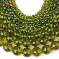 Free Shipping Smooth Round Green Peridot Spacer Loose Beads For Necklace Bracelet DIY Jewerly Making Strand
