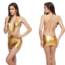 Women Sexy Gold Rave Metallic Shiny Bodycon Mini Dress Open Back Halter Plunge Neck Ring Night Club Disco Stage Costume(China)