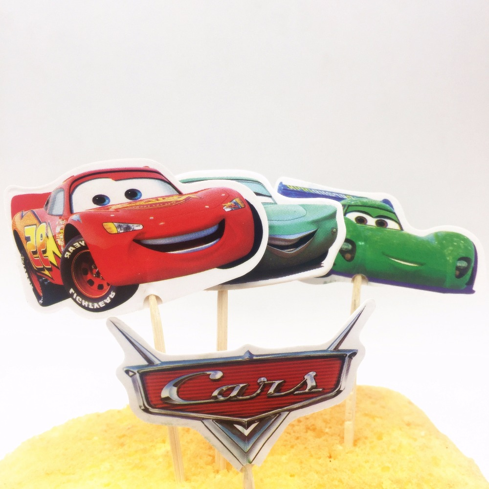 Aliexpress.com : Buy 24pcs cake topper Lightning Mcqueen Birthday ...