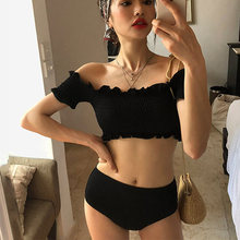 New Korean Style Sexy Hem Bikinis Set Middle Waist Swimsuit Women Biquini Suit Two Pieces Swimwear Black Swimsuit High Quality(China)