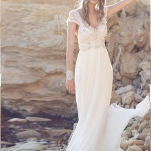Robe mariage белое шифоновое пляжное богемное свадебное платье с открытой спиной кружевное богемное свадебное платье с v-образным вырезом и бисером Vestido de novia