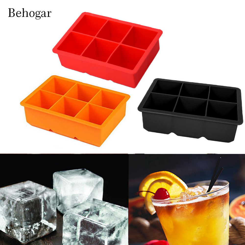 Behogar 6 Slots Silicone Ice Cube Maker Mold Moulds Tray