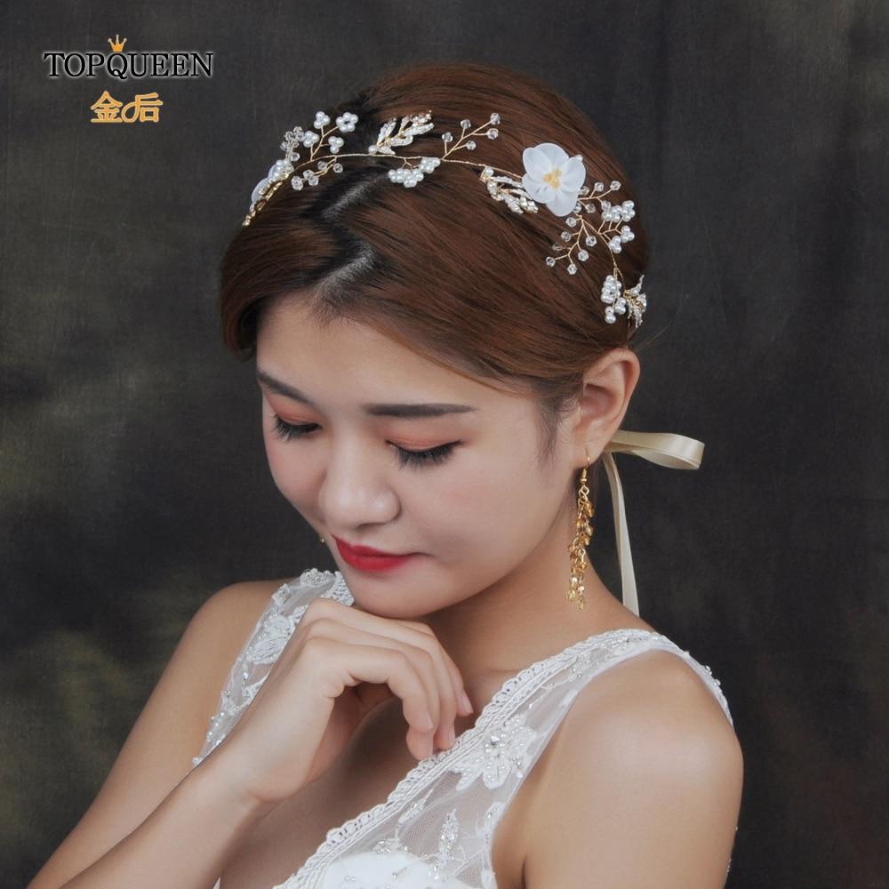TOPQUEEN HP72 Handmade Bridal Head Piece Wedding Hair Tiara With Pearls Wedding Flower Headband Rhinestone Hairband In Stock