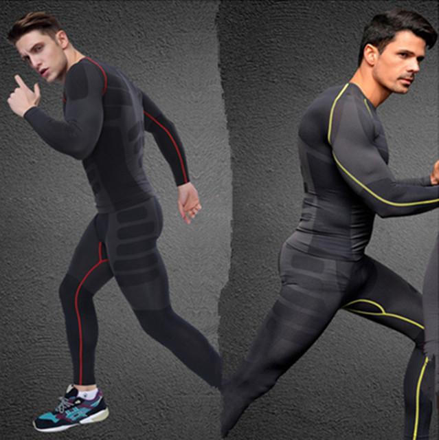 NOVOS homens CHEGADA conjunto ativo [top e calças] camiseta de manga longa elástica respirável de secagem rápida de fitness roupas de ginástica