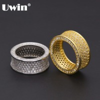 Uwin Crystal AAA Cubic Zirconia Concave Round Silver Ring Women Men Finger Jewelry Luxury Design 8
