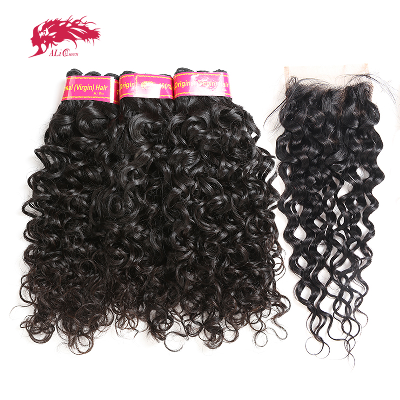 Ali Queen Hair Products Brazilian Water Wave 3pcs Human Hair Bundles With 4x4 Swiss Lace Closure