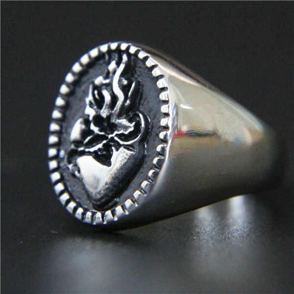 แฟชั่นสไตล์ Cool รถจักรยานยนต์ Biker แหวนหัวใจ 316L สแตนเลสผู้หญิงแหวน Punk ขัดแหวนเงิน