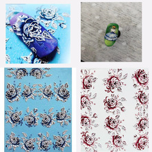 3D Acrylic Engraved flower Nail Sticker pretty girl Rose bird  Water Decals Empaistic Slide Z0112
