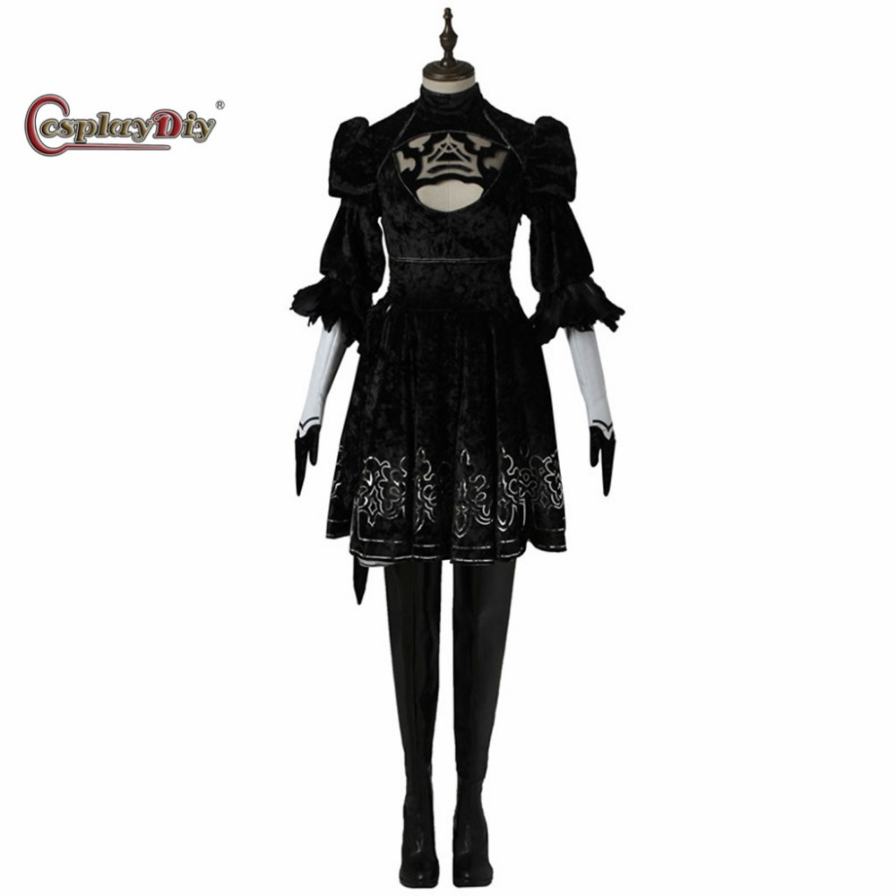 Cosplaydiy Game NieR:Automata 2B YoRHa No. 2 Dress Without Shoes Adult Women Halloween Carnival Cosplay Dress Custom Made J5