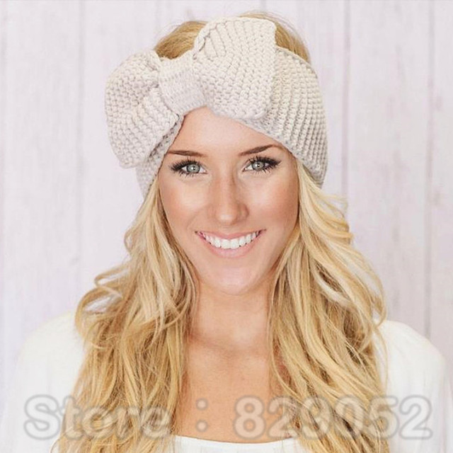 Crochet Bow Headband For Women Girls Winter Ear Warmer Knitted
