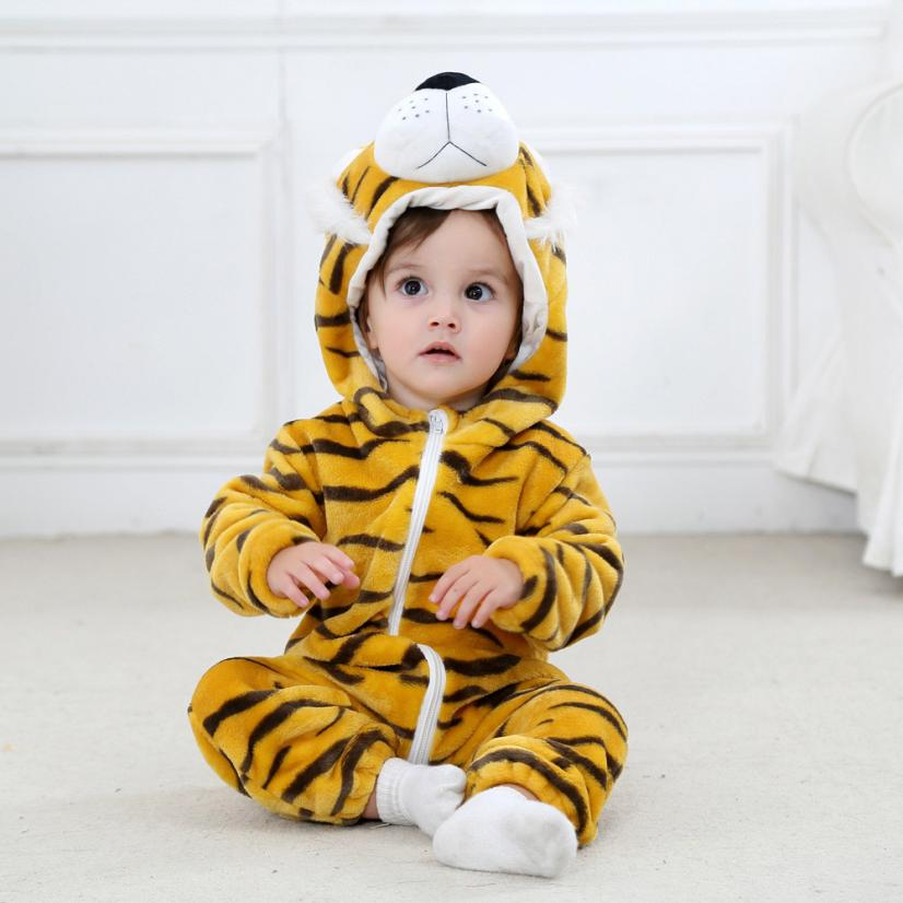 2018 Children Pajamas Unicorn Stars Winter PajamaToddler Newborn Baby Animal Cartoon Hoodie Rompers tiger Outfits Clothes #FI
