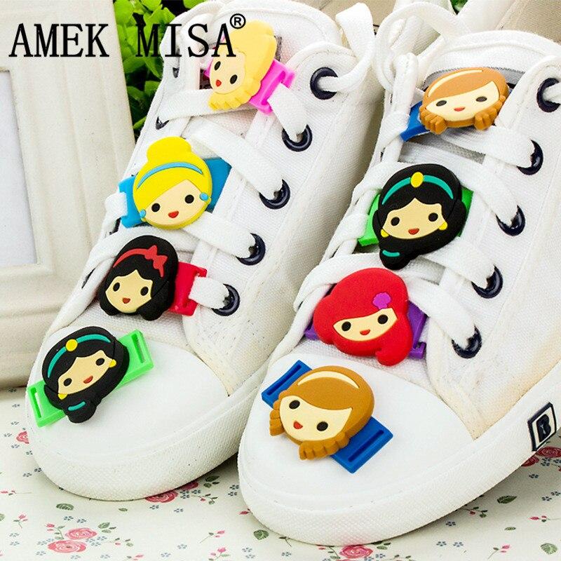 Novelty Cartoon Princess Series Shoe Decorations 8Pcs/Set Casual/Sports Shoe Shoelace Charms Accessories Fit Children Gifts M433