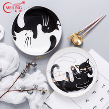 Cute Cat Dish Plate Ceramic Decorative Kitchen Party Cake Plates Cartoon Animal Porcelain Serving Round Housewarming Gifts