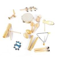 12 types Kids Instruments Kit Children Preschool Rhythm Percussion Musical Wood Toy Instruments Set