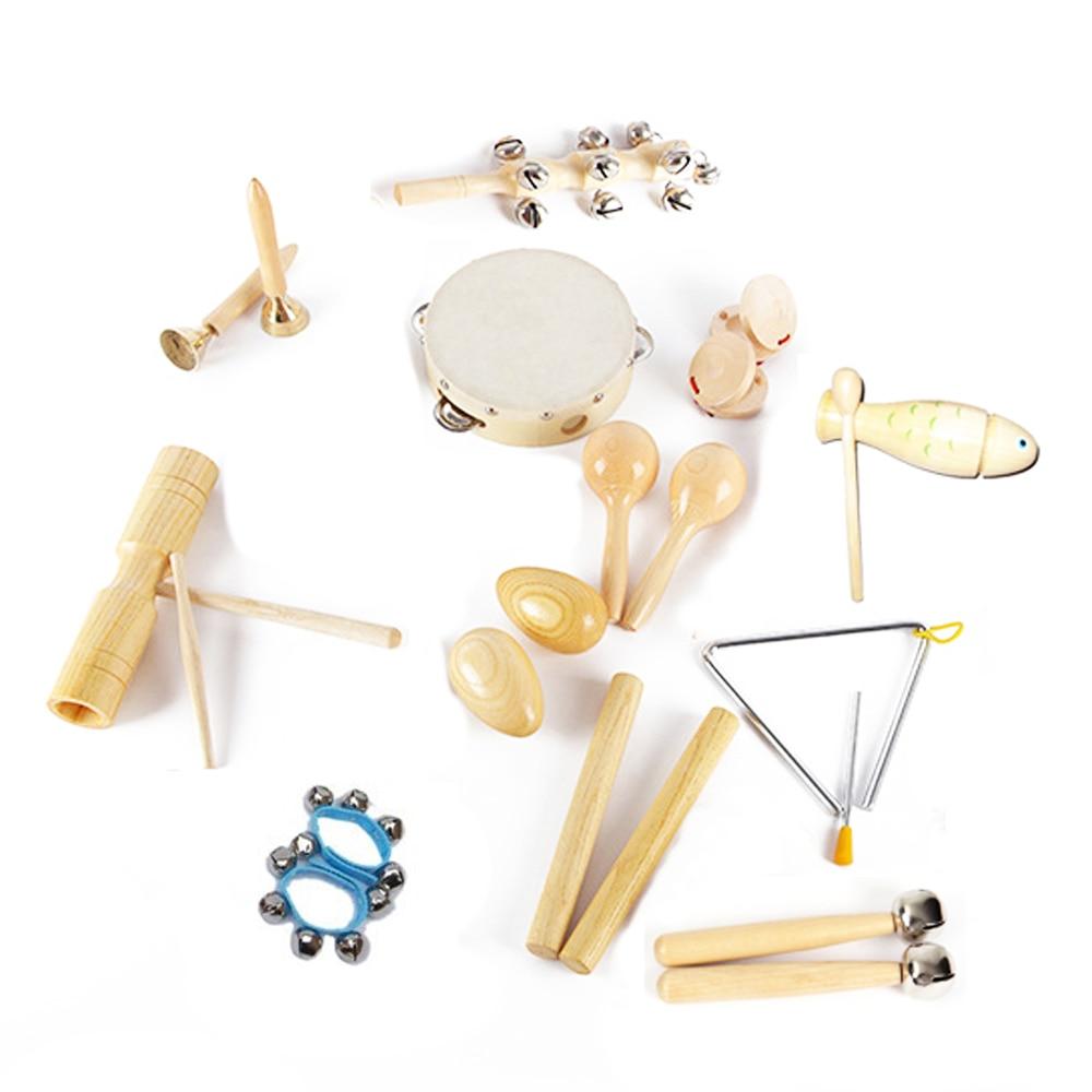Juego de instrumentos de juguete de madera Musical de percusión de ritmo preescolar para niños de 12 tipos