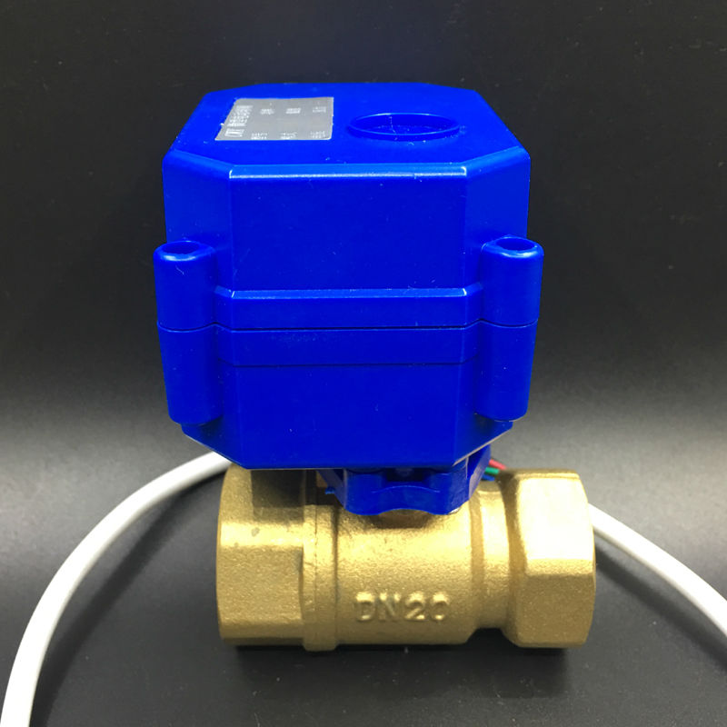 12V Motorised Ball Valve Brass 2 Way 3/4'' (DN20) Electric Shut Off Valve, 3 Wires (CR03 Wiring) For Water Control