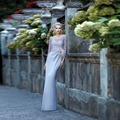Floor Length Long Mother of the bride dresses Grey Groom Mother Gowns With long sleeves Lace Elegant Robe de soiree mom dress
