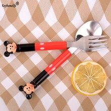 2pcs/set Cute Kawaii Mickey Dinnerware set Stainless Steel Set Forks Tea Coffee Teaspoons Soup Ladle Kids Tableware