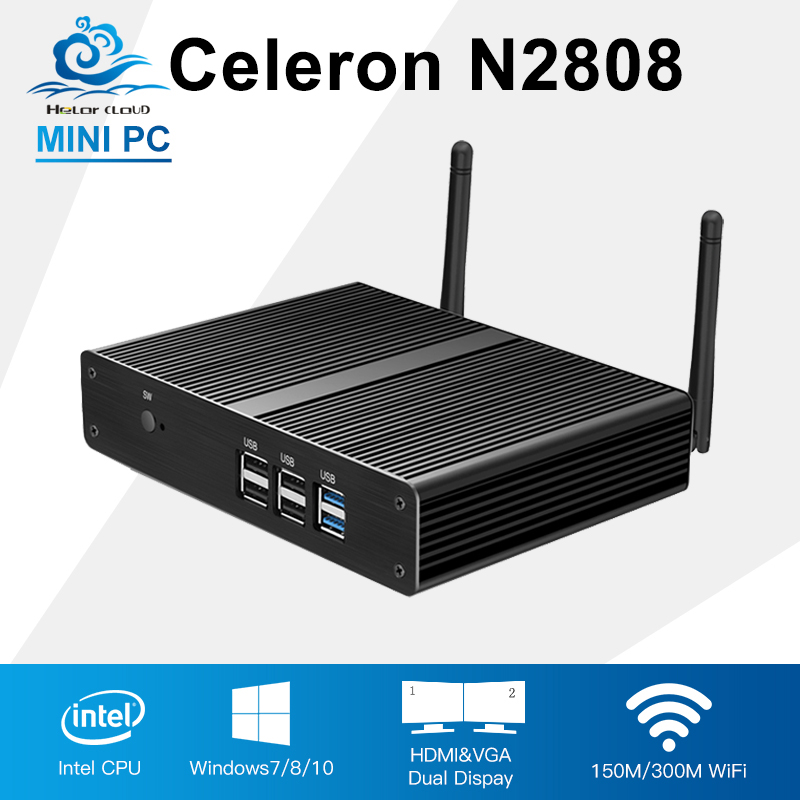 Mini PC Computer Intel Celeron N2808 Dual Core 2*HDMI Mini Desktop Computer Fanless Wifi Windows 7/8/10 Customized PC thin client mini itx computer intel celeron n3150 14nm quad core dual hdmi vga 1 rs232 4 usb3 0 300m wifi window 10 mini pc