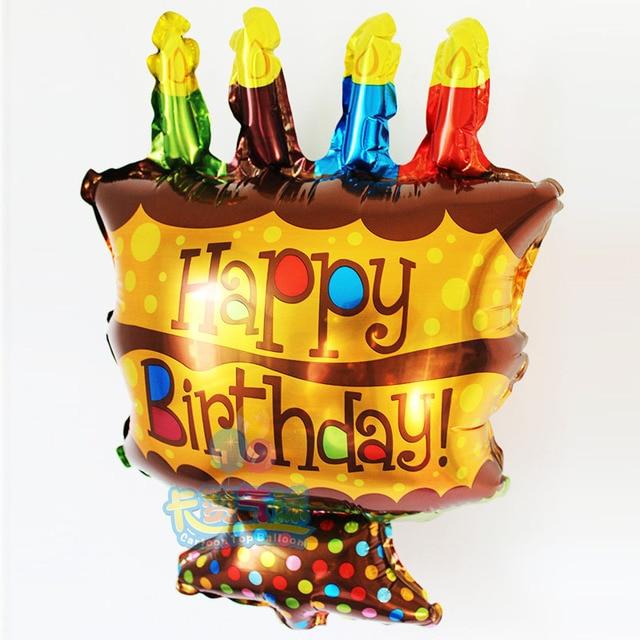 Wholesale 50pcs Lot Mini Birthday Cake Aluminum Foil Balloon Childrens Candle Shaped Ballons