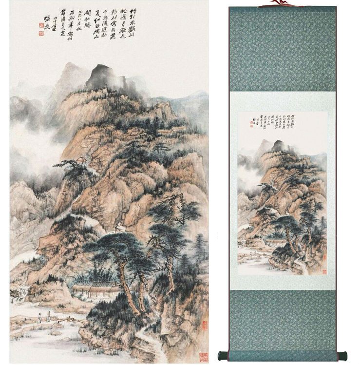 Zhangdaqian Mountain and River painting Chinese scroll painting landscape art painting home decoration painting 0402016
