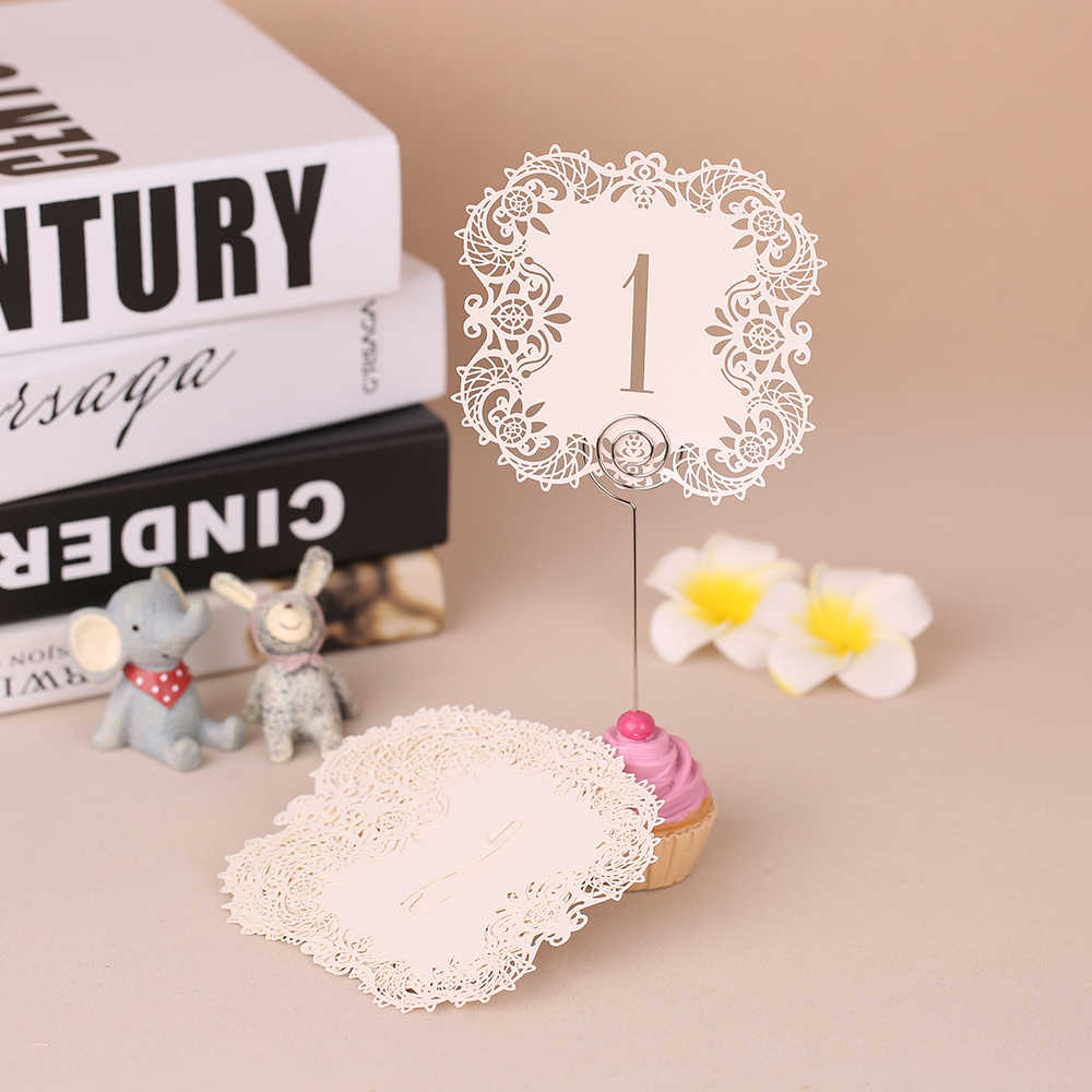 10pcs/set Mini Pearl Paper Laser Cut Table Number Card Party Direction Sign Place Cards Weddings Party Banquet Decoration 1-20